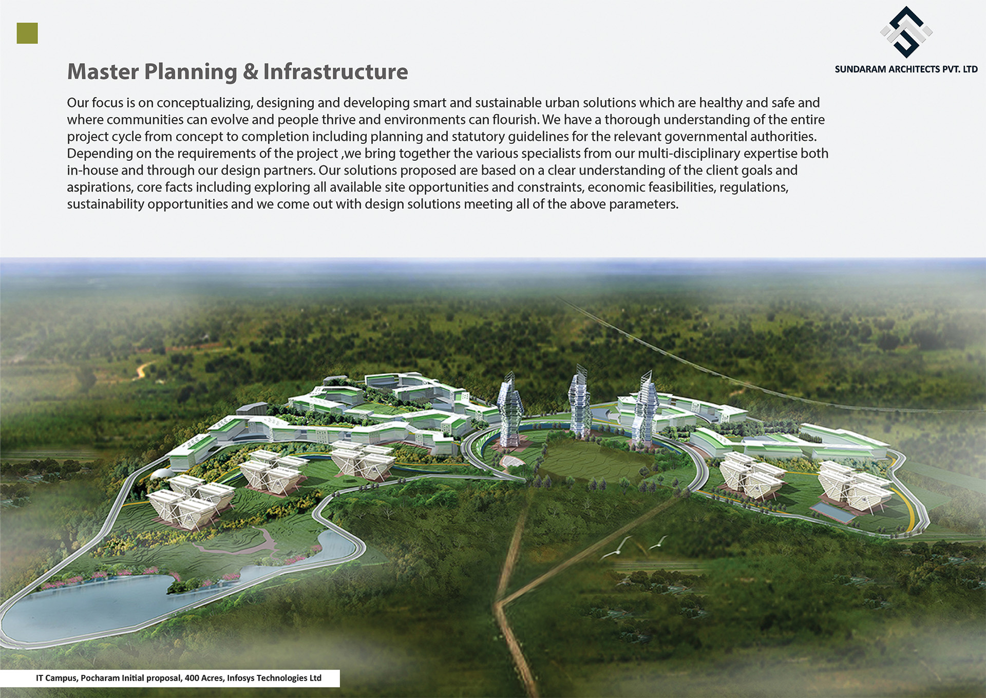 Infosys IT Campus - Pocharam, Hyderabad - Master Planning & Infrastructure Design - Smart and Sustainable Urban Design